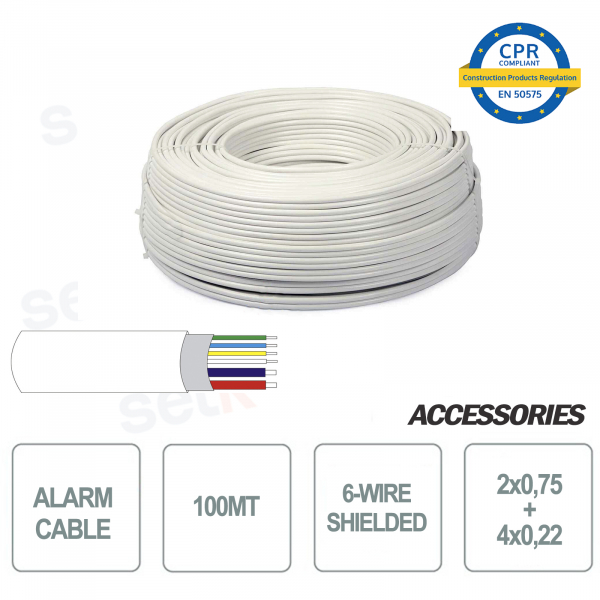 Skein of 100 meters shielded alarm cable 6 wires 4 + 2 2x0 75 4x0 22 for installation and security systems