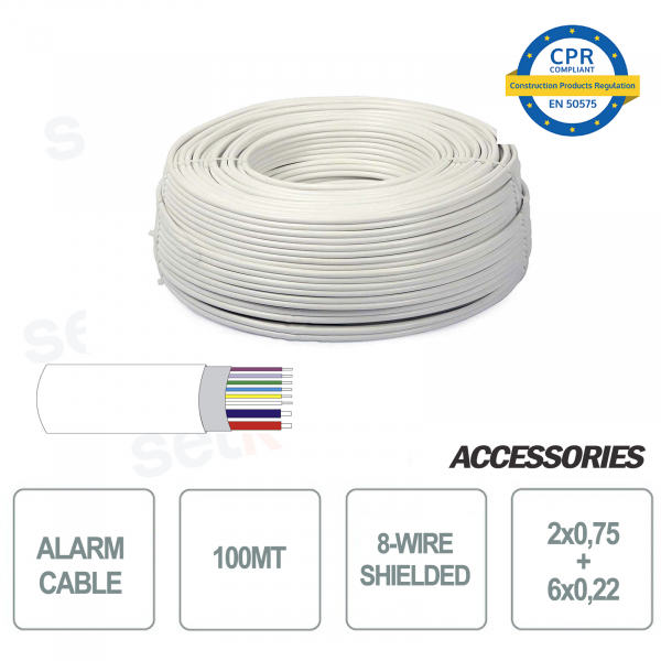 Skein of 100 meters 8-wire shielded alarm cable 6 + 2 2x0 75 6x0 22 for installation and security systems
