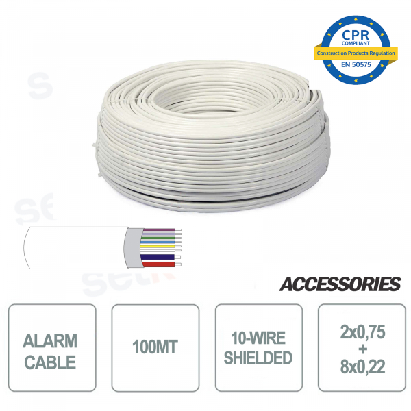 100 meters skein 10-wire shielded alarm cable 8 + 2 2x0 75 8x0 22 for installation and security systems