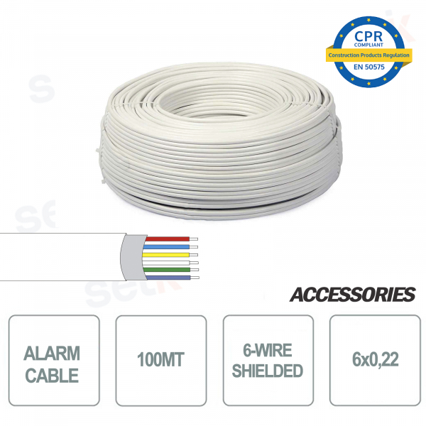 Skein of 100 meters 6-wire 6x0 22 shielded alarm cable for installation and security systems