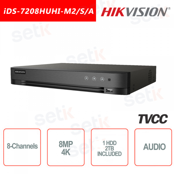 DVR Hikvision 8 Channels 8MP 4K ULTRA HD + HDD 2TB Audio Face Detection