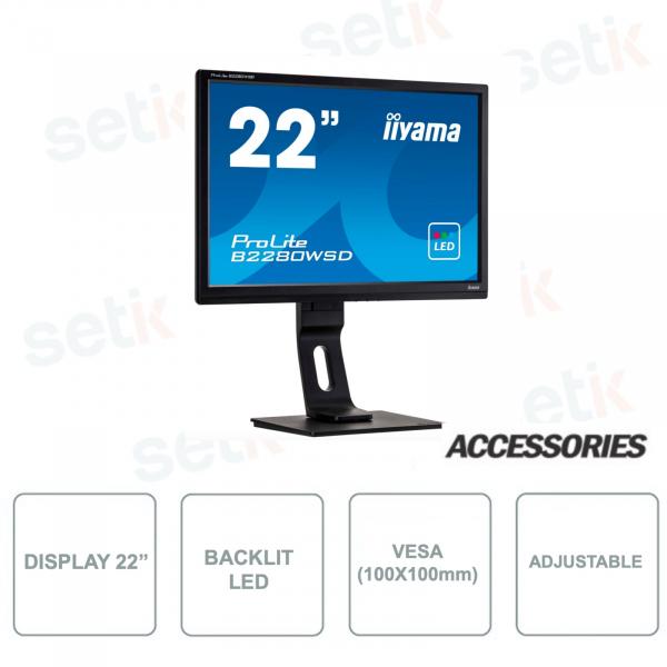 Monitor IIYAMA ProLite B2280WSD-B1 22 Pollici Retroilluminazione LED 1680x1050 per sistemi di videosorveglianza
