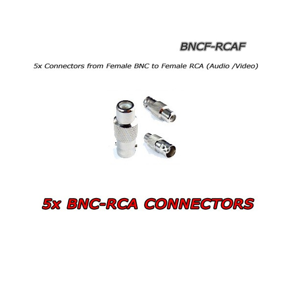 5 x BNC Female to RCA Female CCTV connectors - 5XBNCF-RCAF
