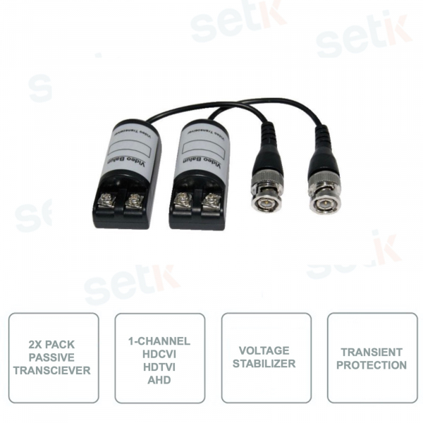 Passive Transmitters - 2 Pieces Pack - 1 Video Channel - HDCVI - HDTVI - AHD for Twisted Pair -