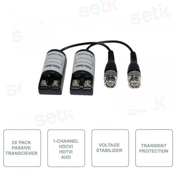Trasmettitori Passivi - Pack da 2 Pezzi - 1 Canale Video - HDCVI - HDTVI - AHD per Twisted Pair -