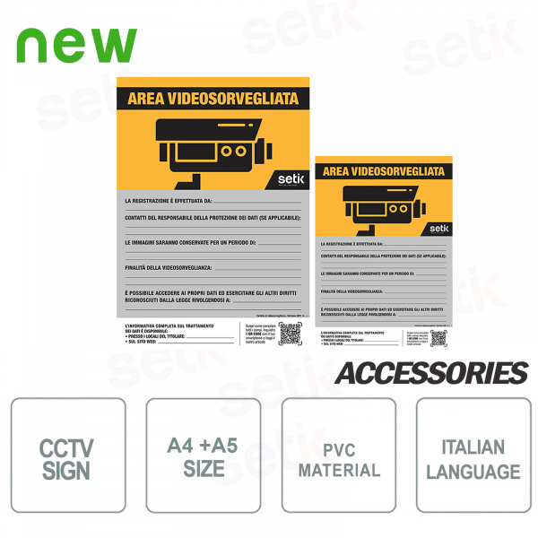 Video surveillance area Video surveillance sign in accordance with 2020 GDPR PVC A4 + A5