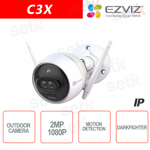 C3X Ezviz Telecamera IP da esterno WIFI 2MP Dual Lens 2.8mm DarkFighter AI IR Hikvision