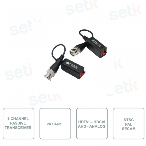 1 channel Passive Transmitter - HD-CVI / HD-TVI / AHD / ANALOG format compatible - HYUNDAI HYU-2834 - Pack of 2 pieces