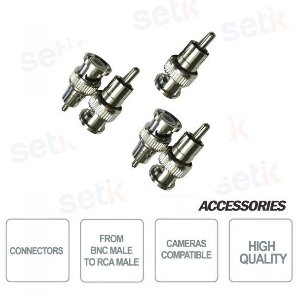 5X BNC Male to RCA Male Connectors for CCTV Audio / Video - BNCM-RCAM