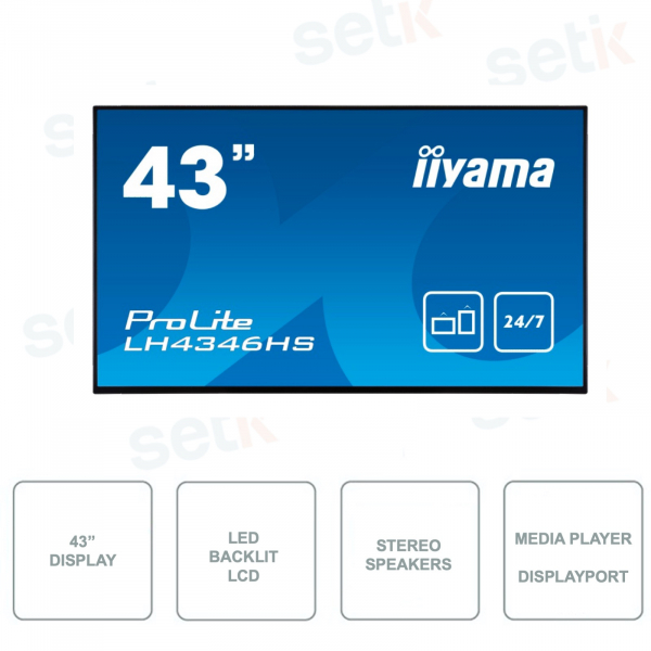 Monitor IIYAMA ProLIte LH4346HS-B1 - 43 Inch - HDMI - DaisyChain - Media Player - FullHD - Stereo Speakers - DisplayPort