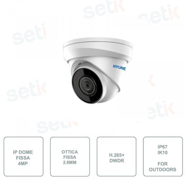 HYU-410N HYUNDAI - Telecamera IP Dome - IR 30m - 4MP - Ottica fissa 2.8mm - Per sistemi di videosorveglianza outdoors