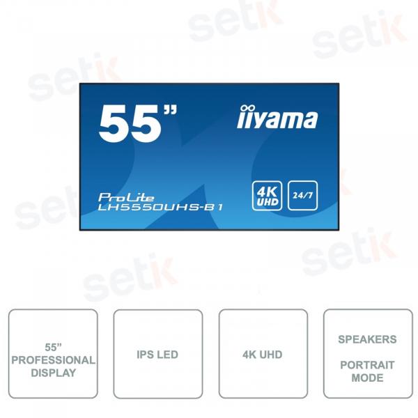 Monitor 55 Pollic Professionale IIYAMA - LH5550UHS-B1 - 4K Ultra-HD - AMVA3 LED - LAN Control - HDMI - Con Speaker Stereo
