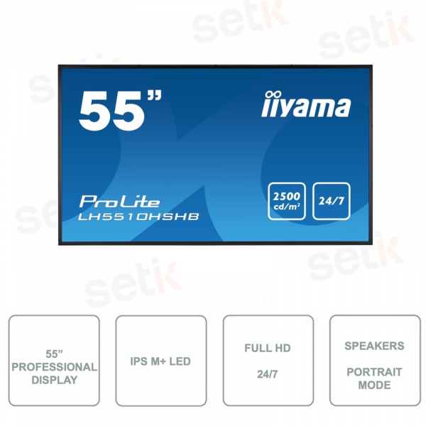 IIYAMA Monitor - LH5510HSHB-B1 - 55 Inch - IPS M + LED - FullHD - For 24/7 use - Sunlight readable