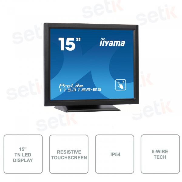 IIYAMA - T1531SR-B5 - 15 Inch Monitor - Touchscreen - Resistive - 5-Wire Technology - IP54 - TN LED