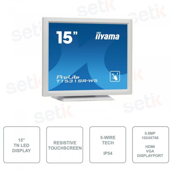 IIYAMA - T1531SR-W5 - 15 Inch Monitor - Touchscreen - Resistive - 5-Wire Technology - IP54 - TN LED - White