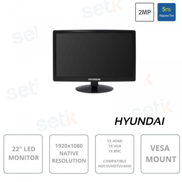 22 Inch LED Monitor - HYU-459 Hyundai - 16: 9 resolution 1920 x 1080 HDCVI / HDTVI / AHD