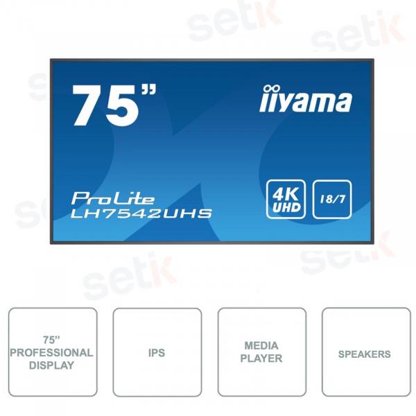 LH7542UHS-B1 - Monitor 75 Pollici - IPS - 4K UHD - AndroidOS - SDM