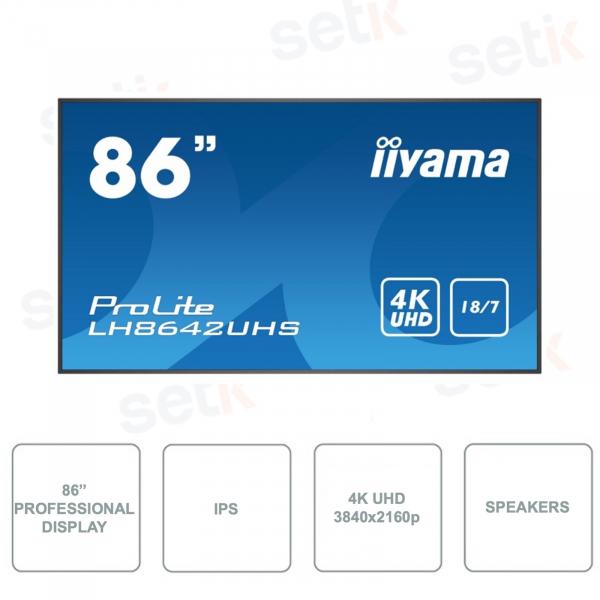 LH8642UHS-B1 - IIYAMA - Monitor 86 Inch - IPS - 4K UHD With Speakers
