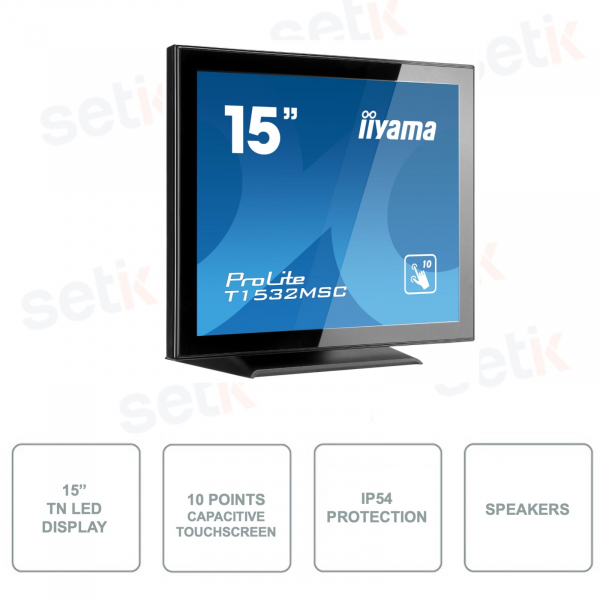 T1532MSC-B5X - IIYAMA - Monitor con Touchscreen a 10 Punti da 15 Pollici - TN LED - 0.8MP - Con Altoparlanti - 8ms
