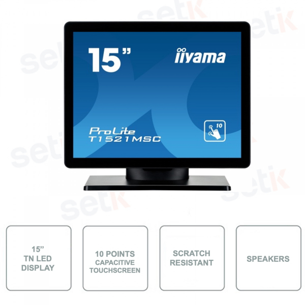 T1521MSC-B1 - IIYAMA 15 Inch Monitor - 10 Points Touchscreen - TN LED - With Speakers