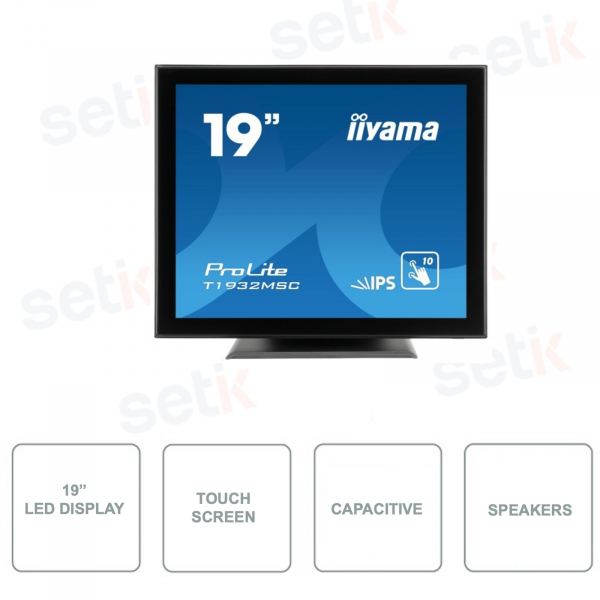T1932MSC-B5AG - IIYAMA - 19 Inch Monitor - IPS LED - Antiglare - With Speakers - 10 Point Touchscreen