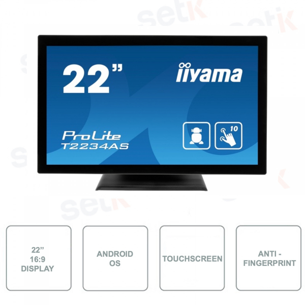 T2234AS-B1 - IIYAMA - IPS LED Monitor - 21.5 Inch - 10 Point Touchscreen - Anti-fingerprint Technology - With Speakers