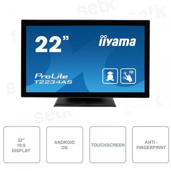 T2234AS-B1 - IIYAMA - Monitor IPS LED - 21.5 Pollici - Touchscreen a 10 punti - Tecnologia Anti-impronte - Con Altoparlanti