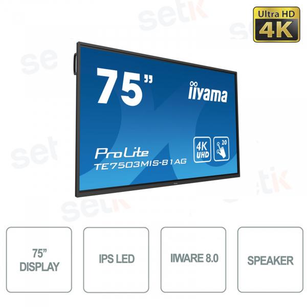 75 INCH IPS LED MONITOR 4K ULTRA-HD TOUCH 20 POINTS SPEAKERS IIWARE- IIYAMA