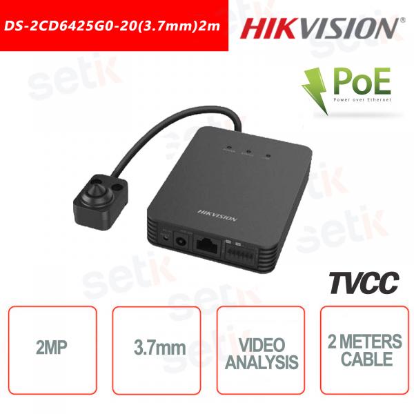 Telecamera Hikvision con ottica esterna 2MP ~ 3.7mm Video analisi Rilevamento Volto - Cavo da 2 Metri