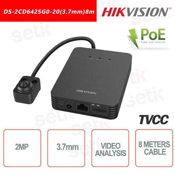 Telecamera Hikvision con ottica esterna Pinhole 2MP 3.7mm Video analisi Rilevamento Volto - Cavo da 8 Metri