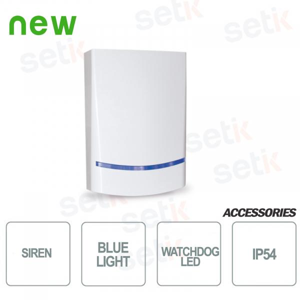 Sirena AMC da esterno Potenza sonora di 100dB - Lampeggiante a LED Blu - AMC