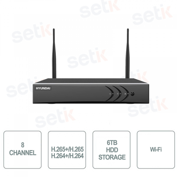 NVR 8 CHANNELS WIFI IP 4MP HIUNDAY