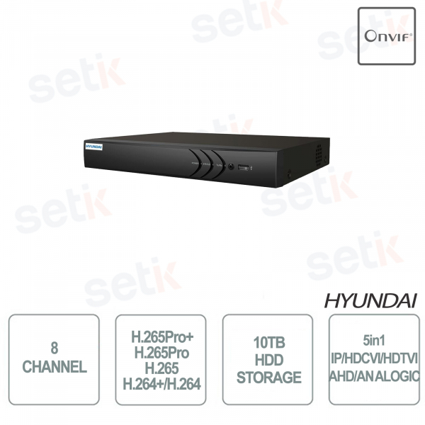 ZVR 5IN1 8 CHANNELS + 2IP ONVIF 1HDD HYUNDAI