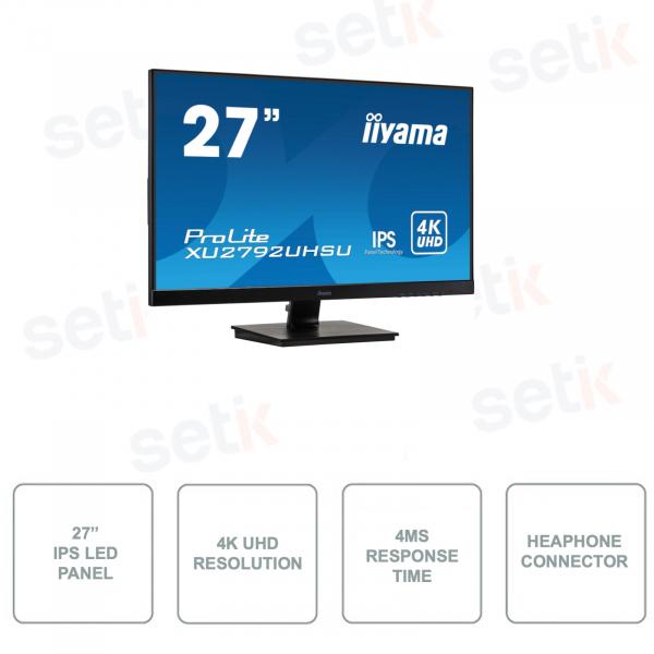 XU2792UHSU-B1 - IIYAMA Monitor - IPS LED Panel - 4K UHD UltraHD - 27 Inch - With Speakers