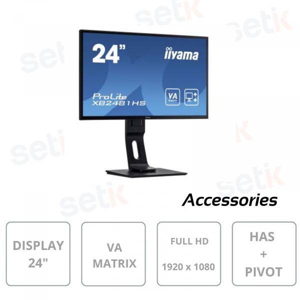 Monitor Prolite 24 Pollici VA Matrix LED Full HD ACR HAS PIVOT - IIYAMA