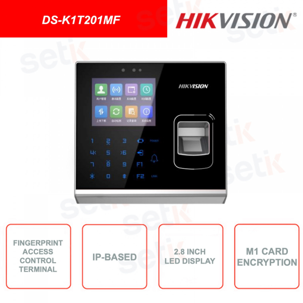 DS-K1T201MF - HIKVISION - MIfare card reader and fingerprint - With 2.8 inch LCD display