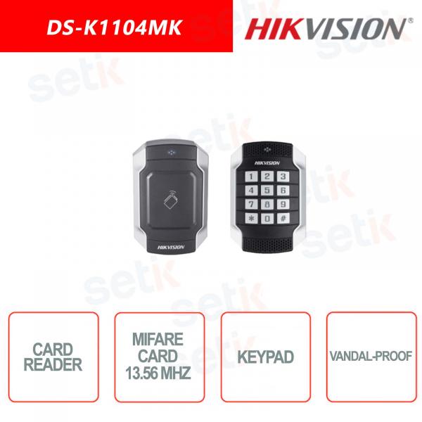 Mifare card reader with Hikvision Keypad - Vandalproof