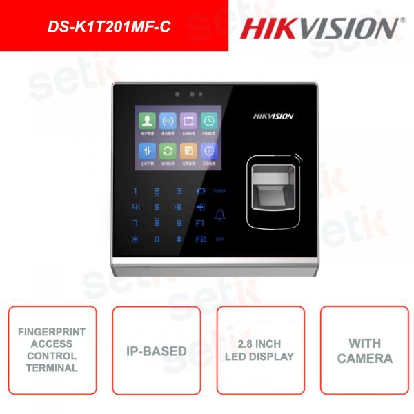 DS-K1T201MF-C - HIKVISION - Lettore di tessere MIfare e impronte digitali - Con Camera - Con display LCD 2.8 pollici