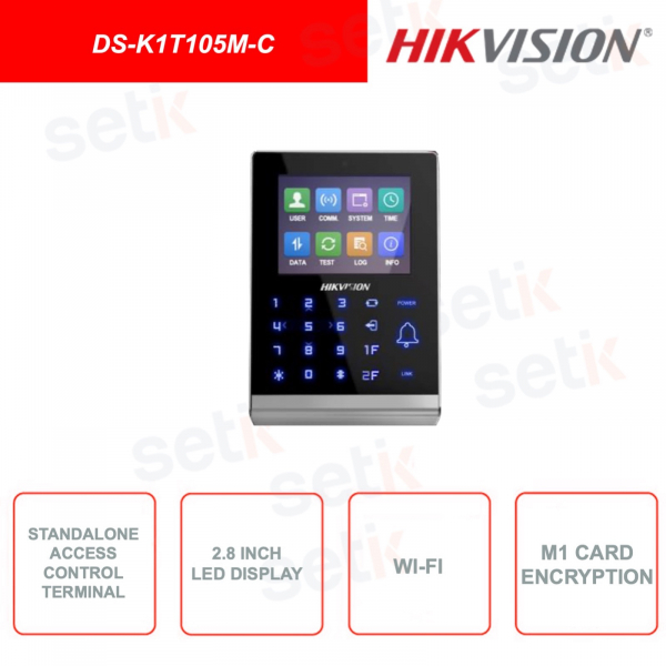 DS-K1T105M-C - HIKVISION - Terminal for access control - With Camera - 2.8 Inch Display - WiFi - Mifare card reader