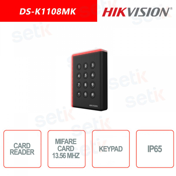 Lettore tessere 13,56Mhz con Keypad Hikvision