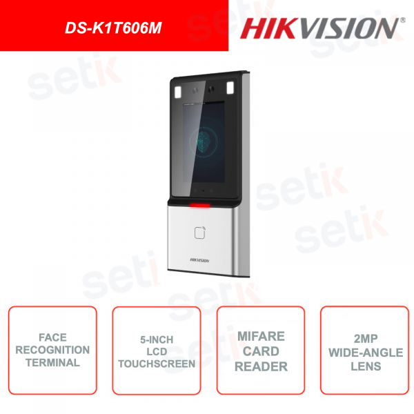 DS-K1T606M - Face Detection Device - Supports Mifare Cards - 5 Inch Touchscreen Display