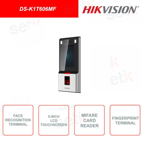 DS-K1T606MF - Dispositivo per il rilevamento del volto - Lettore Schede Mifare e impronte digitali - Display integrato