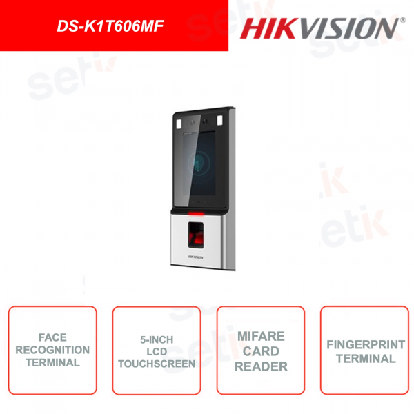 DS-K1T606MF - Face detection device - Mifare card reader and fingerprint - Integrated display