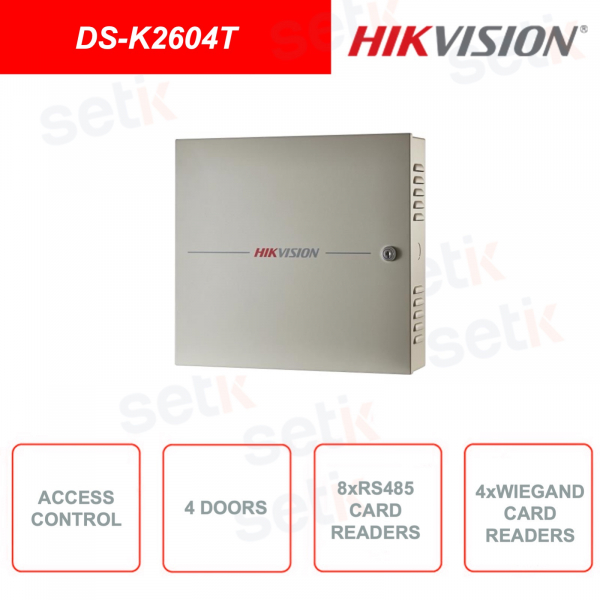 DS-K2604T - HIKVISION - Access control module - RS485 interface - Wiegand interface - Control on 4 doors