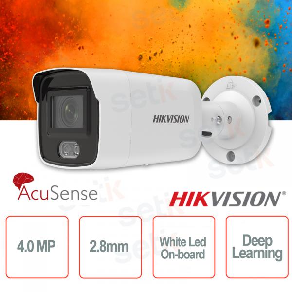 Telecamera IP PoE da esterno Mini Bullet 4MP 2.8mm ColorVu Hikvision AcuSense White Led Deep Learning