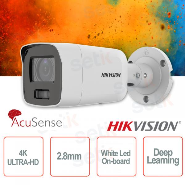 Telecamera IP PoE esterna Mini Bullet 4K Ultra HD Professionale 2.8mm ColorVu Hikvision AcuSense White Led Deep Learning