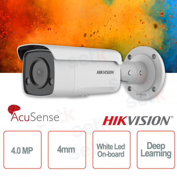 Outdoor PoE IP Camera Bullet 4MP 4mm ColorVu Hikvision AcuSense White Led Deep Learning