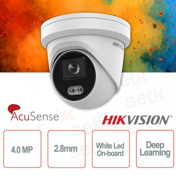Telecamera IP PoE da esterno Turret 4MP 2.8mm ColorVu Hikvision AcuSense White Led Deep Learning