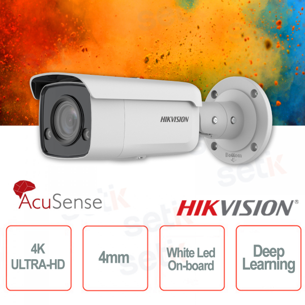Outdoor PoE IP Camera Bullet 4K Ultra HD Professional 4mm ColorVu Hikvision AcuSense White Led Deep Learning