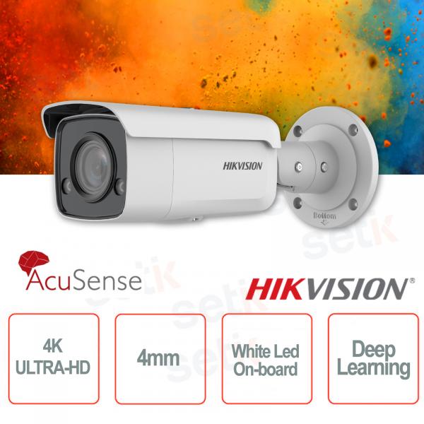 Telecamera IP PoE esterna Bullet 4K Ultra HD Professionale 4mm ColorVu Hikvision AcuSense White Led Deep Learning